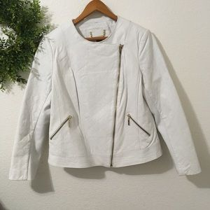 Iman White Leather Jacket with Gold Zipper Detail